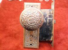 AWESOME VTG ANTIQUE SOLID BRASS DECORATIVE DOOR HANDLE, PANELS & LOCK MECHANISM
