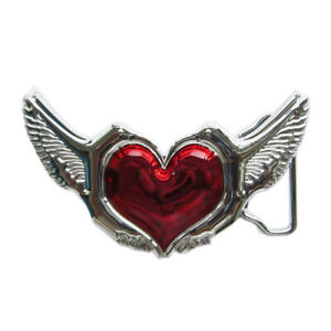 Red Heart Love Birds Wing Chrome Finish Metal Belt Buckle