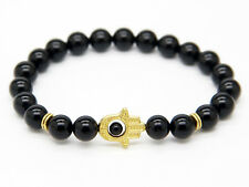 New Design 8mm Black Glass Jewelry Hamsa Fatima Hand Protection Bracelet for Men