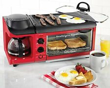 New 3-in-1 Breakfast Station Tabletop Griddle Coffee Maker & Toaster Baking Oven