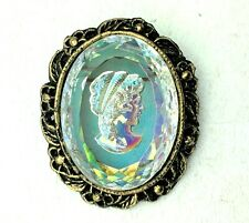 """VINTAGE SIGNED WMAC CAMEO BROOCH Glass / Crystal Large 2"""" x 1.75"""""""