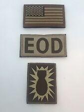 BROWN Explosive Ordnance Disposal FLAG EOD Bomb Squad MILITARY HK/LP PATCH