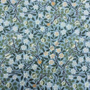William Morris Clover Mural V&A 100% cotton blue floral fabric dressmaking craft