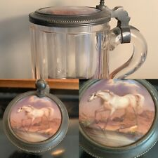 More details for lovely c1900's cut glass pewter stein tankard hand painted study of horse to lid