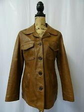 Women's Vintage PALL MALL Distressed Leather Cargo Pilots Coat Jacket Size M