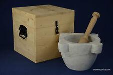 """Mortaio marmo Carrara """"Marsigliese"""" 22 cm pestello legno.Marble mortar & pestle"""