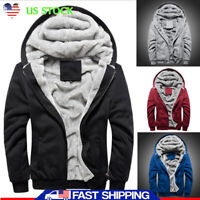 Men Fur Lined Winter Hooded Hoodie Jacket Thick Sherpa Fleece Coat Parka Outwear