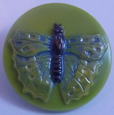 CZECH GLASS BUTTON -  Butterfly Pea Green Hand-Painted Pale Lacy Wings 23mm-7/8""