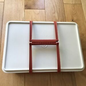 Vintage Tupperware Stow-N-Go Burnt Harvest Orange 1421 Box & Sliders-Tuppercraft