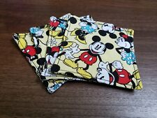 Handmade Fabric Coasters Set Of 4 Mickey Minnie Mouse Red White Blue Black White