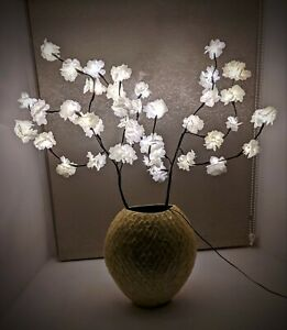 White Blossom Twig Branch Light, Warm LED Lights with Plug-in Power