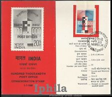 ONE LAKH Post Offices 1968   Stamped Folder  Postal India Letter Box Briefkasten