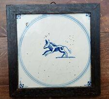 Antique Dutch Delft Blue White Horse? Dog? Animal Circle Tile 17thC SpiderCorner