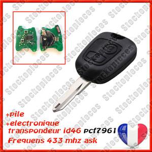 CLE VIERGE AVEC ELECTRONIQUE COMPATIBLE PEUGEOT 206 206CC  à programmer Testé