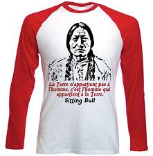 Sitting Bull La Terre - NEW RED LONG SLEEVES COTTON TSHIRT
