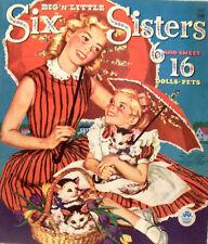 VINTAGE UNCUT 1960 SIX SISTERS PAPER DOLLS ~CUTE HD LASER REPRODUCTION~ LO PR