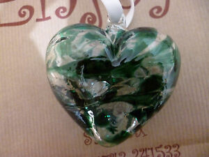 SALE Milford Hanging Glass Friendship Heart May Birth Month Emerald CLEARANCE