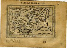 1609 Genuine Antique miniature map of Italy, Verona. by A. Ortelius