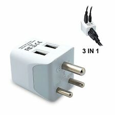 Ceptics USA to India, Africa Travel Adapter Plug  With Dual USB - Type D - Ultra
