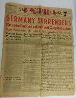 """RARE! """"Germany Surrenders"""" May 7 1945 Panama Newspaper Original (1A1)"""