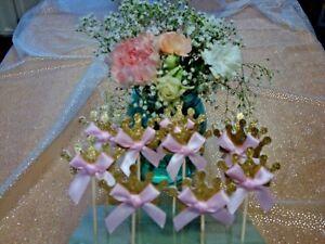 Princess Tiara Cupcake Picks; Princess Baby Shower; Princess Birthday Decoration
