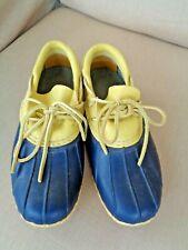 L. L. BEAN WOMEN'S SMALL BATCH NAVY BLUE & YELLOW BEAN BOOTS 6M (7- 7 1/2)