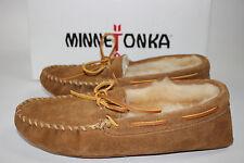 NIB MINNETONKA Size 8 Mens Tan 100% Suede Sheepskin/Shearling Soft Sole Slippers