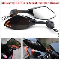 Paire de rétroviseur clignotant LED intégré moto pour Honda Kawasaki Yamaha
