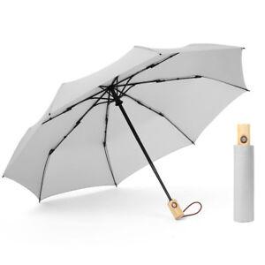 Large Tri-folded Automatic Rain Umbrella Inverted Reverse Travel Wooden Handle