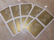 Etiqueta de franqueo de la oficina de correos de oro X10 Sello de Royal Mail reina en blanco Stock Limitado