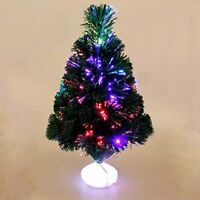 GREEN FIBRE OPTIC CHRISTMAS TREE COLOUR CHANGING - 1.5ft XMAS TREE 45cm