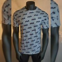 FILA AUTHENTIC TSHIRT MEN'S CREW NECK SHORT SLEEVE ALL OVER PRINT SIZE L WHITE