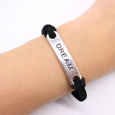 DREAM FRIENDSHIP BRACELET / Gift Idea / Black Faux Leather Jewellery Hippie Boho