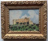 Tableau Ancien Post Impressionnisme Château des Templiers Gréoux les Bains Huile
