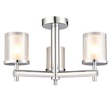 Endon Britton Semi Flush Bagno Lampadario a Soffitto IP44 3 x 18W Cromato