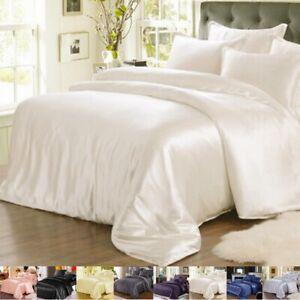 25Momme 100% Silk Seamless Duvet Quilt Cover Sheets Pillow Case & Set Queen Size