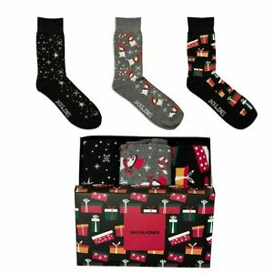 Jack & Jones Christmas Present Gift Box Set Coloured Comfortable 3 Pack Socks
