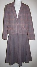 Vtg Butte Knit 2 Pc Suit Pink Gray Tweed Plaid Skirt Blazer Jacket USA Sz 12
