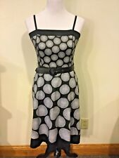 White House Black Market Women's Sz 4 Black White Dress w/ Belt ~ EUC