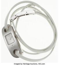 GUCCI White Leather Wrap Watch Model 6100 L Swiss Made EUC Size 7