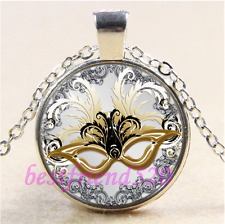 Masquerade Party Mask Cabochon Glass Tibet Silver Chain  Pendant Necklace#CD89