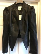 BNWT River Island Black Faux Leather Puff Jacket Size 12