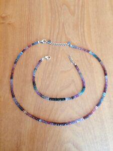 Bargain! Real Gemstone Beaded Necklet & Bracelet Set (TGGC) Sapphire/Ruby Etc.