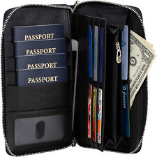 Brelox Travel Family RFID Passport Holder Wallet - Genuine Leather - Black