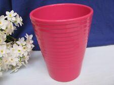 Fuchsia Pink Pottery Ringed Flower Vase Pot Utensil Caddy Brush Holder Germany