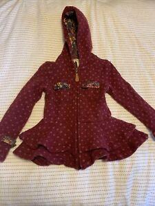 MATILDA JANE Girls Devon Coat WOOL Zip Hooded Friends Forever DOT Floral Size 6
