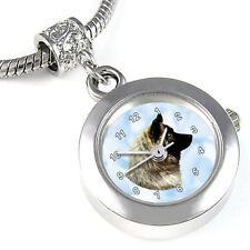 Eurasier Dog Silver Charm Bead Quartz Watch Fit European Bracelet Necklace Eba56