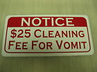 VOMIT FEE Metal Sign 4 Hockey Rink Club Beer Joint Boxing Gym Bar Ice House Judo