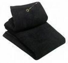 Deluxe Tri-Fold Golf Towel Black + Free Bonus Champ Golf Tees Flytees