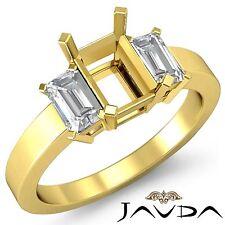Elegant 3 Stone Anniversary Ring Emerald Diamond SemiMount 14k Yellow Gold 0.4Ct